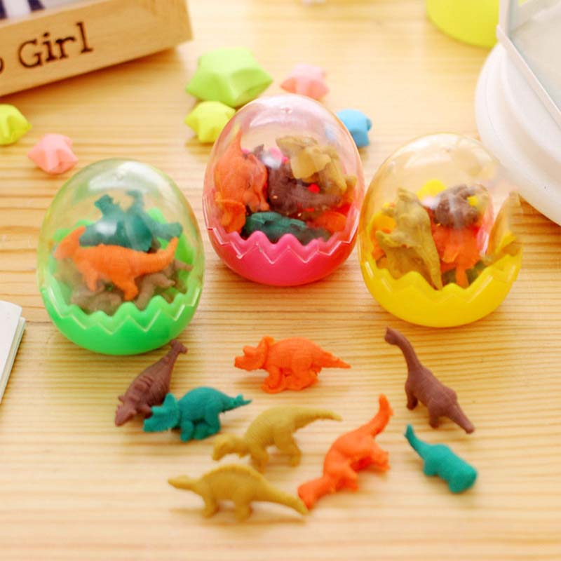 8Pcs Novelty <font><b>Toys</b></font> Mini Animal <font><b>Dinosaur</b></font> <font><b>Eggs</b></font> Pencil Rubber Eraser Students Educational Stationery Gift image