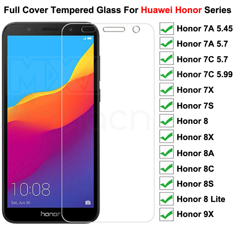 9H Protective Glass on For Huawei Honor 7A 7X 7C 7S Tempered Screen Protector Glass Honor 8 Lite 9X 8X 8A 8C 8S Glass Film Case(China)