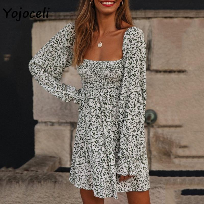 Yojoceli Square Neck Shirred Dress Floral Print Long Sleeve Smock Dress Boho Beach Mini Dress