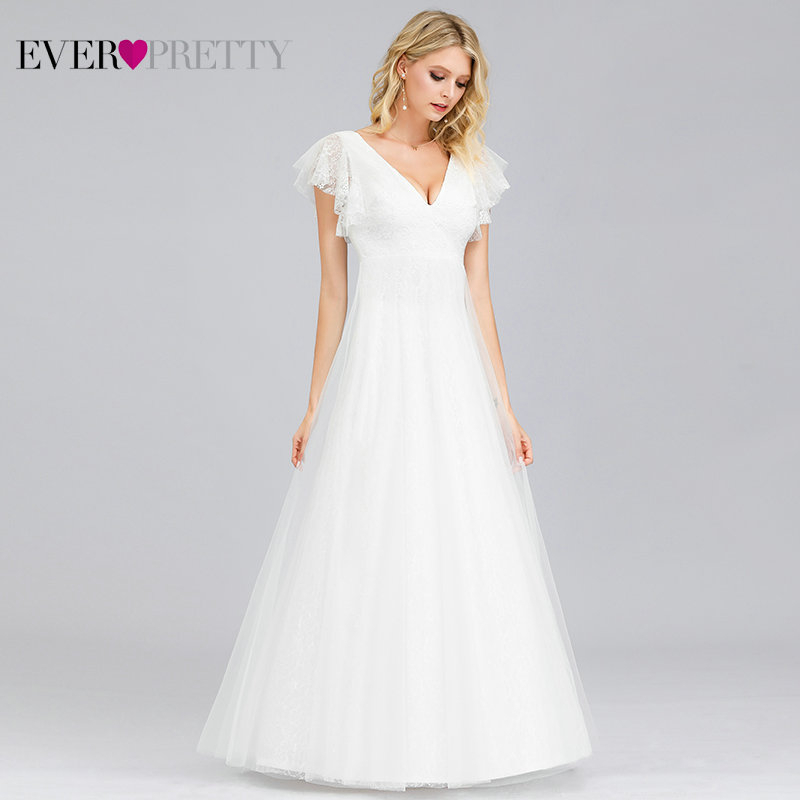Wedding-Dresses Bride-Gowns Ever Pretty Elegant Embroidery Boho Simple Lace No V-Neck