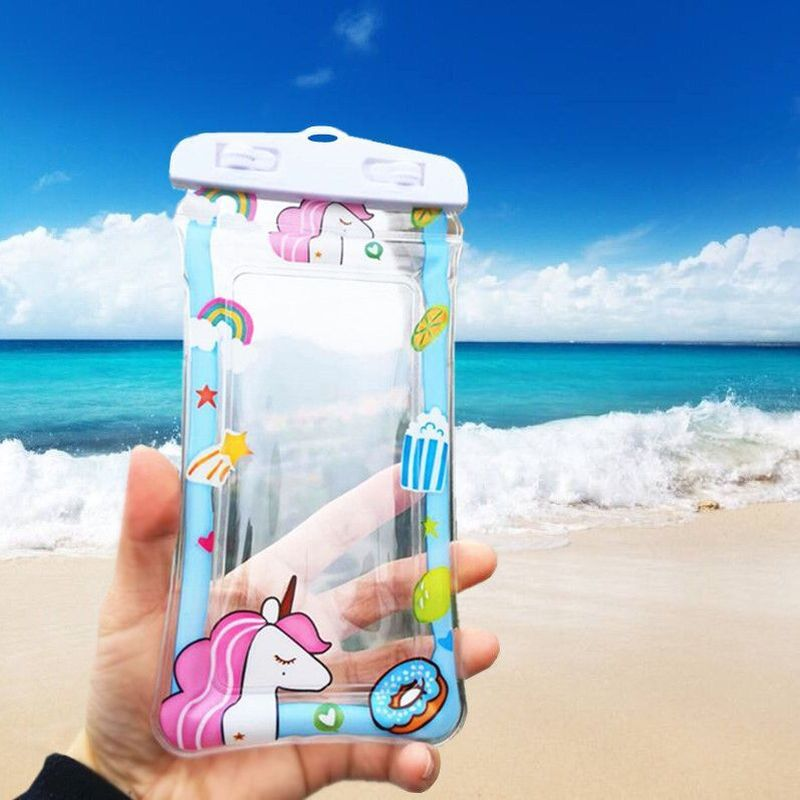 Swimming Bags Waterproof  Fingerprint Unlock Cartoon Floating Air Phone Bag Outdoor Diving Beach Water Bag