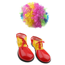 Colorful Rainbow Clown Curly Wig Jester Costume Clown Unisex Adults Shoe Covers Dress up Holiday Props(China)