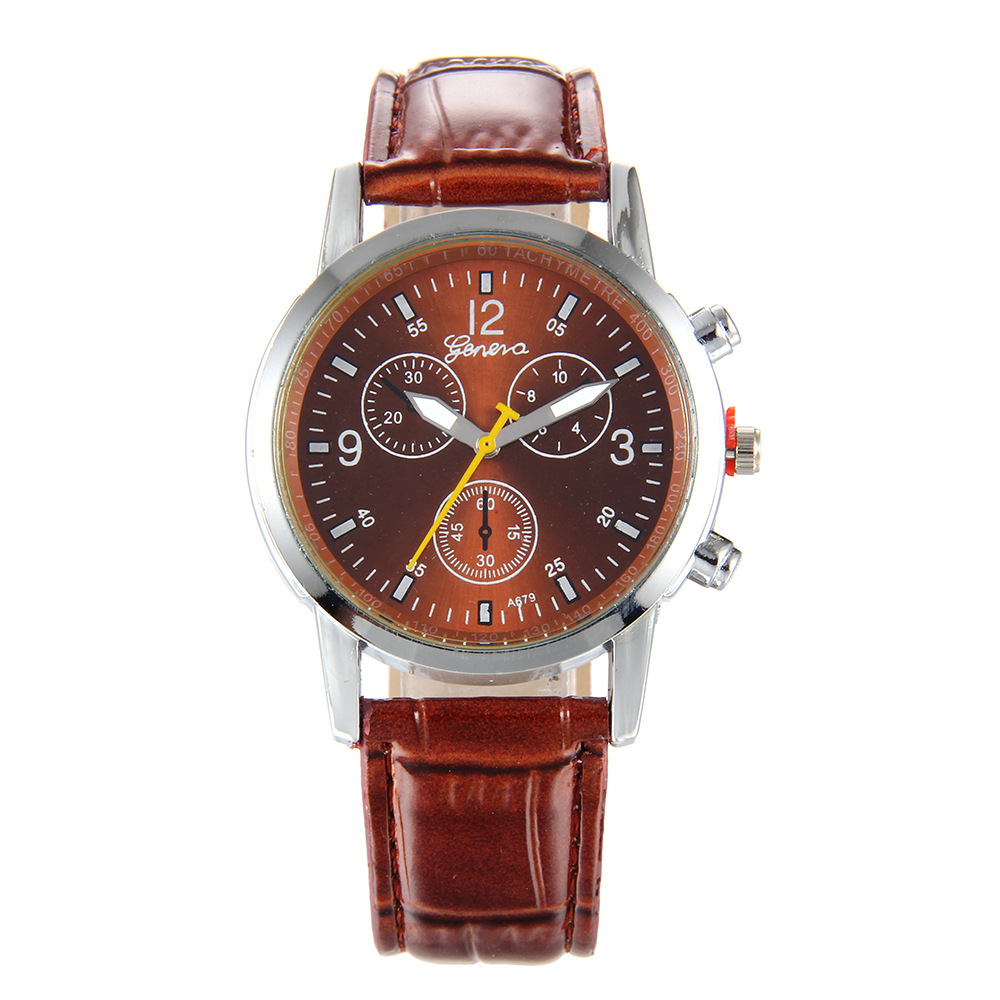 Foreign Trade Hot Sales Color Hands Fake Three-Eyed Men Fashion Belt Watch Currently Available Wholesale PD1039