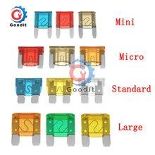10 pçs mini padrão micro fusíveis 5a 7.5a 10a 15a 20a 25a 30a 35a 40a amp clipe variedade tipo de lâmina automática fusível conjunto para o caminhão do carro