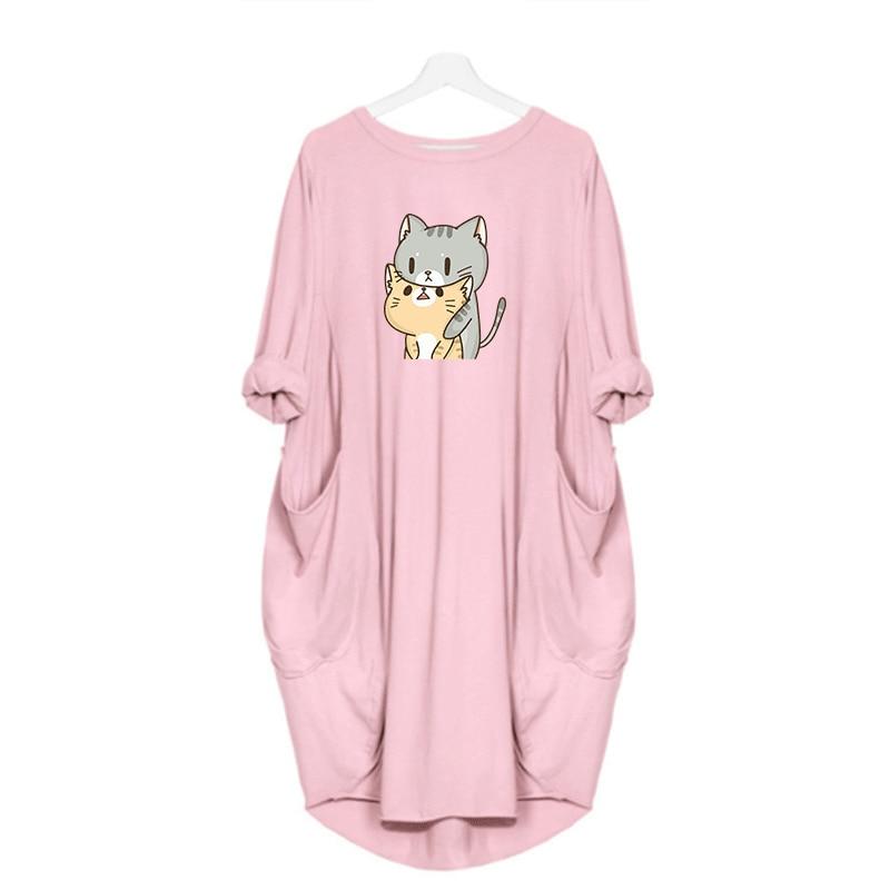 Dress Women Cute Print Cat Dog Pocket Casual Loose Vintage Party Autumn Girls Clothes Kawaii Womens Plus Size M-5XL Dresses 2020