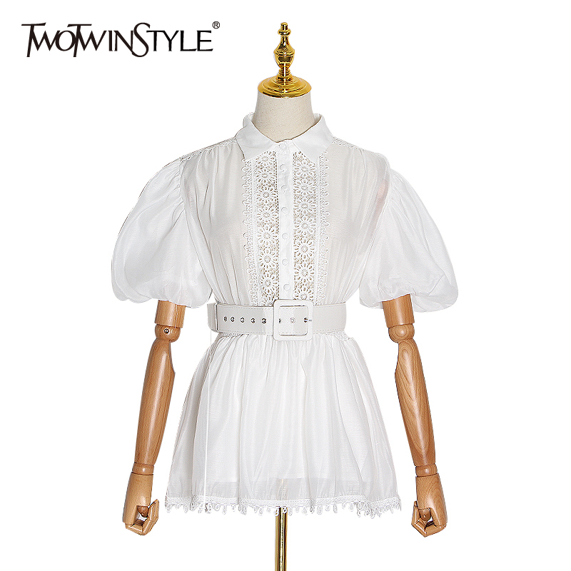 TWOTWINSTYLE Patchwork Lace Shirt For Women Lapel Collar Puff Sleeve High Waist Sashes Female Blouse Female 2020 Spring Fashion
