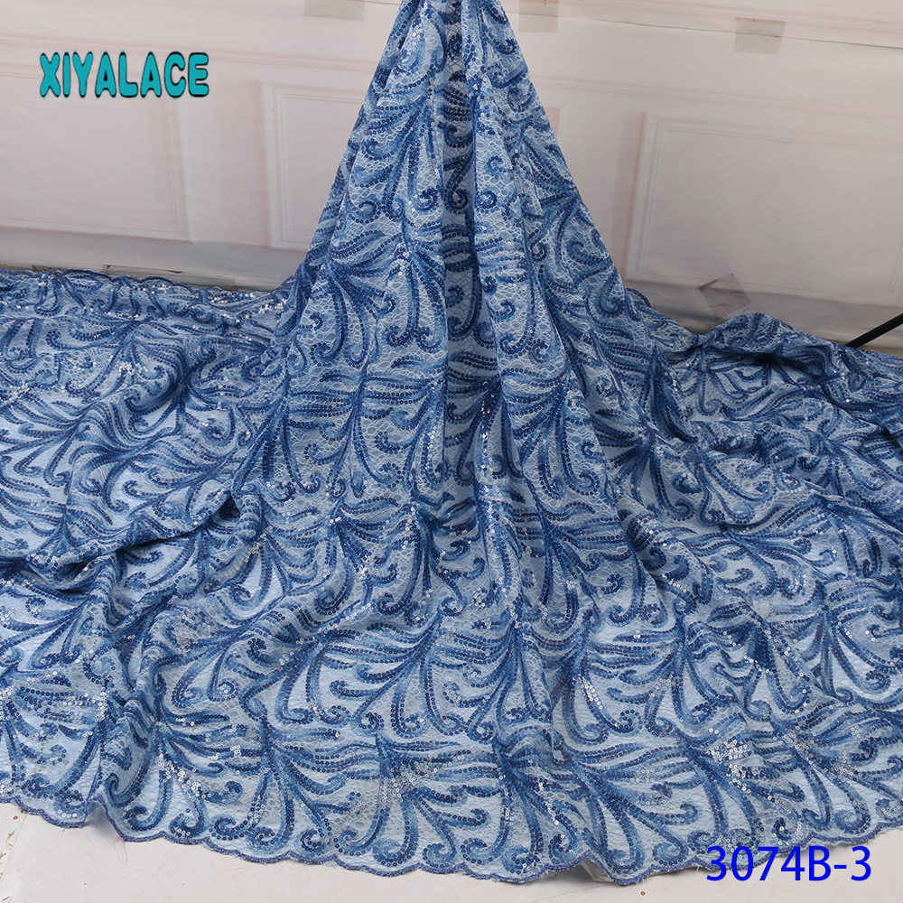 Luxury Light Blue Black African Mesh Lace Fabrics 2019 High Quality Nigerian French Tulle Lace Net Lace  Fabric YA3074B-3