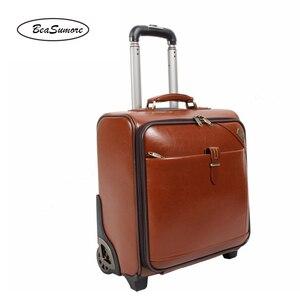 Image 3 - BeaSumore мужской деловой багаж из натуральной кожи, 20/24 дюйма, ретро чемоданы на колесах из воловьей кожи, 16 дюймовая тележка с паролем для салона
