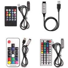 цена на 5V USB Led Strip RGB Controller Bluetooth Music RF IR 3 17 44 Keys Remote Control Wireless For RGB 5050 2835 USB LED Strip Light