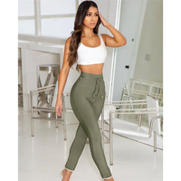 2019 New Pencil Pants Women Sexy Skinny Pants High Waist Belt skinny Trousers elastic Party Bodycon Long Bandage Party Pants