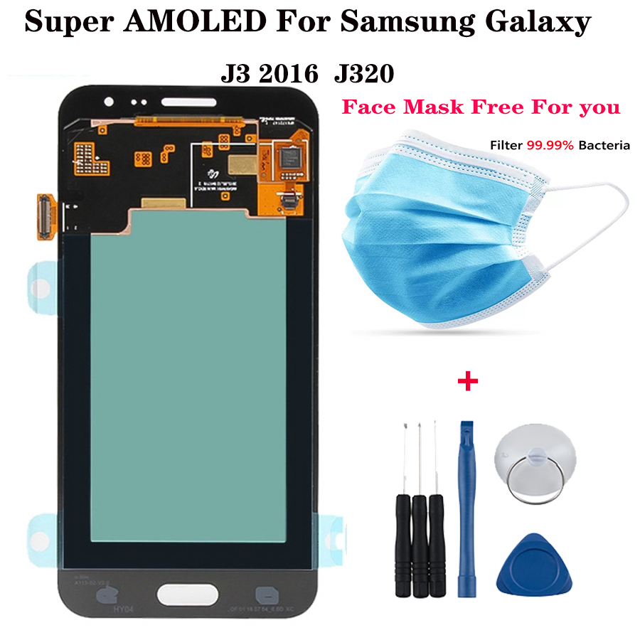 Super <font><b>AMOLED</b></font> screen For Samsung Galaxy <font><b>J320</b></font> J3 2016 <font><b>LCD</b></font> J320H J320FN J320M Display Touch Screen Digitizer replacement pantalla image