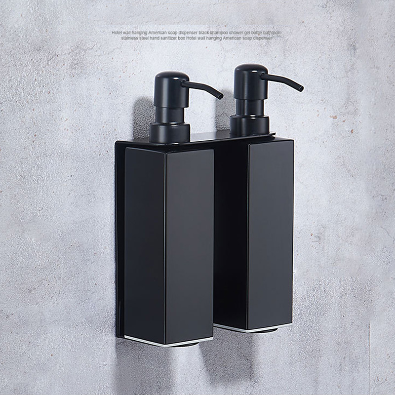 Stainless Steel Wall Mounted Liquid Soap Dispenser Kitchen Sink Bathroom Hand Pump Soap Bottle Shampoo Container Pump Double image