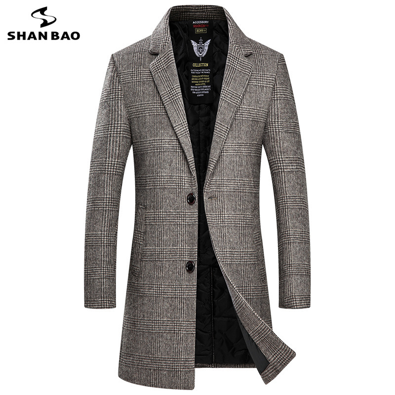SHANBAO Brand Thick Wool Coat 2019 Autumn And Winter New Fashion Casual Self-cultivation Long Men's Plaid Coat Brown Gray 9508