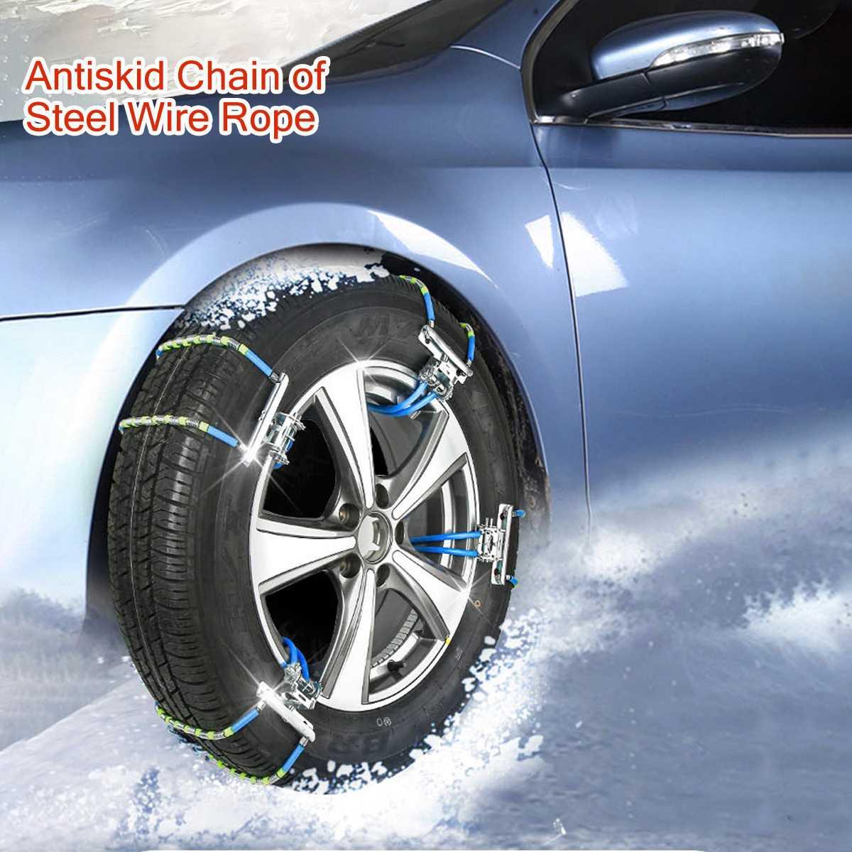 Araba lastiği kar zinciri ayarlanabilir Anti-skid güvenlik yapış Skid lastik tekerlek zincirleri kış çelik kamyon araba SUV için 165-245mm