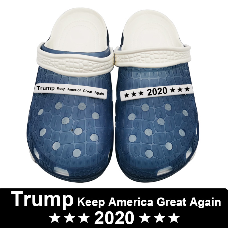 2020 Trump Keep America Great Again Slippers Crocks Hole Shoes Crok Clogs For Women EVA Unisex Beach Garden Shoes Crocse Zapatos