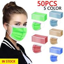 50 pces máscara descartável denta industrial 3ply earloop máscara facial verde vermelho marrom máscara selo respirador mascarilla reutilizável adulto