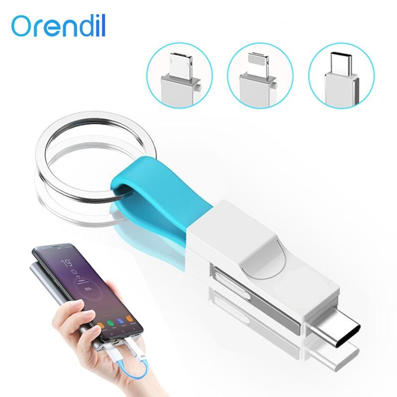 Orendil portátil 3in 1 cabo usb mini chaveiro micro usb tipo c carregador rápido sincronização de dados 2a viagem cabos curtos cabo de carregamento