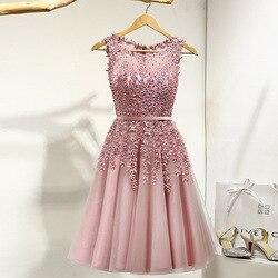 Коктейльное платье с маленькой аппликацией и бисером, розовые свадебные торжественные платья с цветами, женские вечерние платья длиной до ...