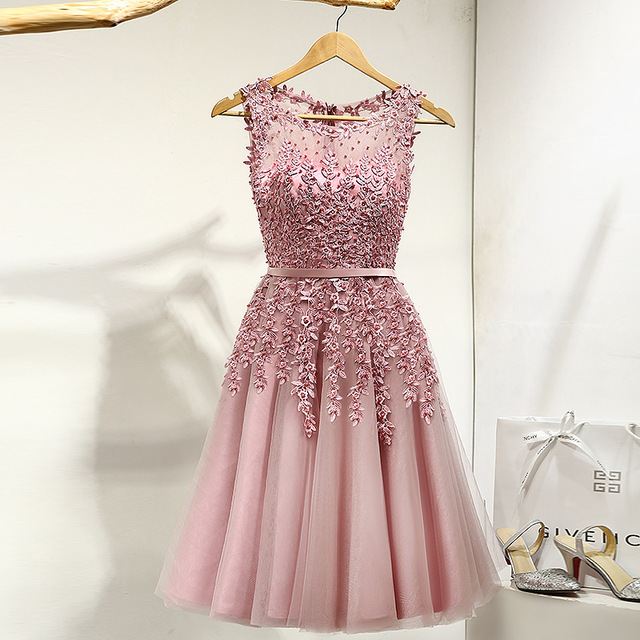 Cocktail-Dress Beading Party-Gowns Flowers Appliques Knee-Length Pink Women LX073-2 Illusion title=