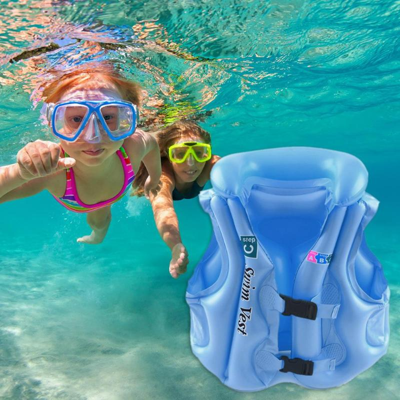 Multi-function Baby Kids Solid Color Safety Float Inflatable Swim Vest Life Jacket Swimming Aid Vest For Children