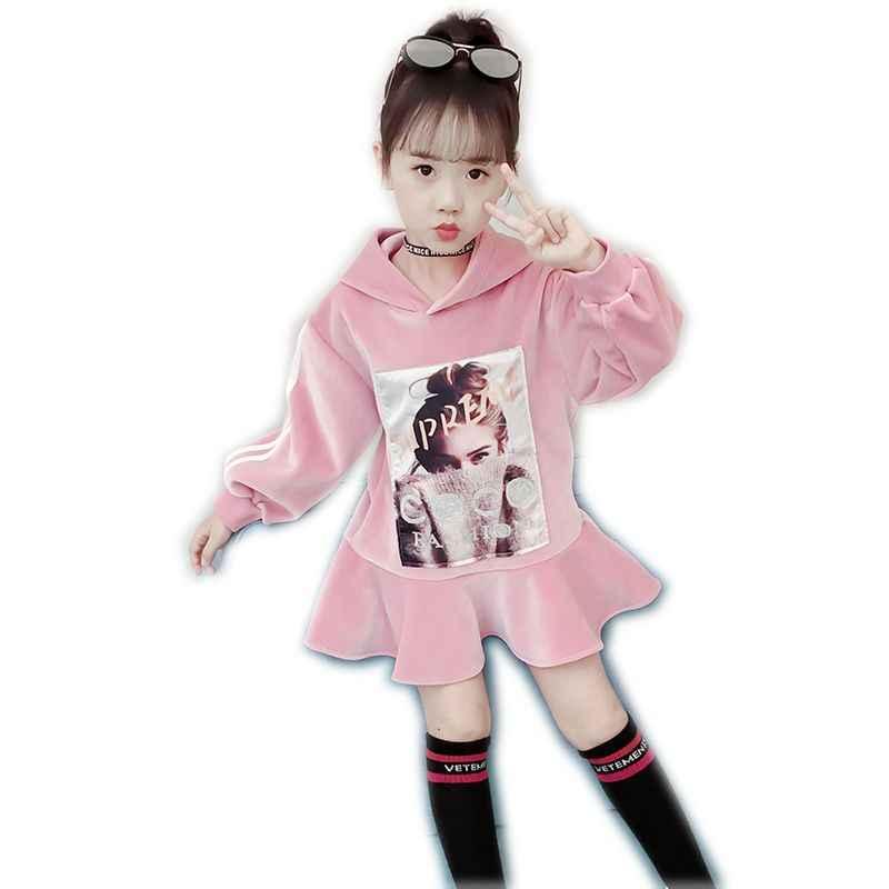 Nuevos Dulces Vestidos De Invierno Para Niñas Adolescentes Suéter Con Capucha Más Vestido De Tutú De Terciopelo Vestido Casual Para Niños Adolescentes