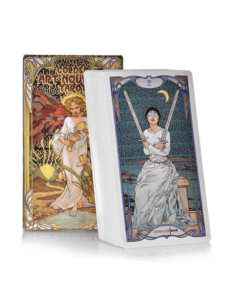 Creative Tarot Cards 78 Golden Art Nouveau Oracle Game Card Family Holiday Party Playing Cards English Board Games Set