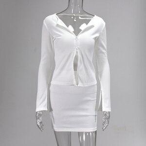 Image 3 - Colysmo מצולעים לסרוג 2 חתיכה להגדיר נשים Bodycon ארוך שרוול רוכסן חולצות מוצק מיני חצאיות סט Slim מסיבת שתי חתיכה סט מועדון תלבושת