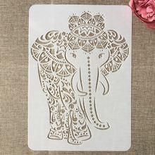 А4 29 см Мандала слон Сделай Сам Многослойные трафареты раскраска