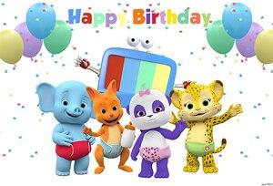 Image 2 - Sxy1601 Wort Party Neugeborenen Geburtstag Backrops Custom Bunten Luftballons Tiere fondo fotografico Foto Hintergrund Banner 7x5ft