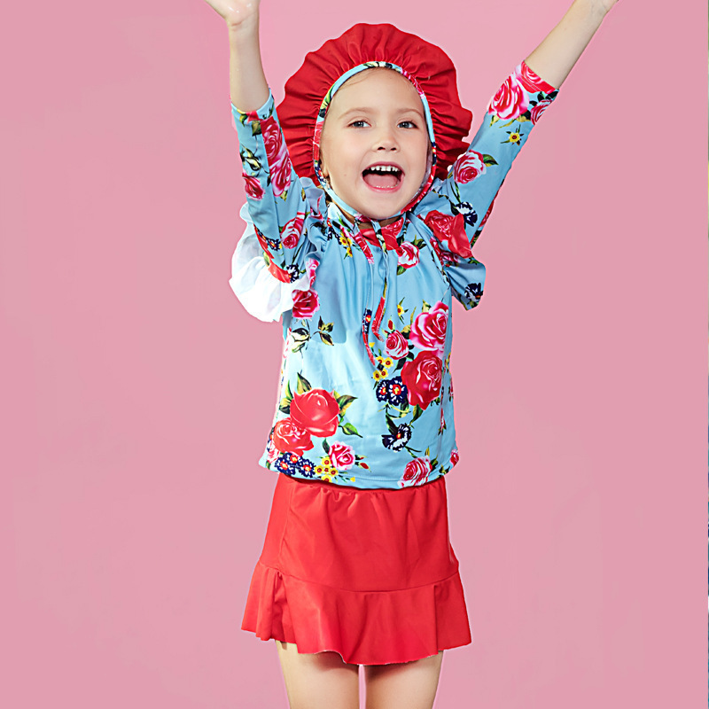 2018 Baby Girls Hot Springs Two-piece Swimsuits Long Sleeve With Swim Cap Diving Suit Swimwear