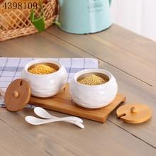 Керамическая банка для приправ, бытовая коробка для приправ, деревянный лоток, банка для специй, соевый соус, горшок, соль, сахар, одна банка, кухонный инструмент для приправ