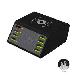 Image 1 - 8 portów USB wyświetlacz LCD pulpit ładowarka podróżna szybkie ładowanie wielofunkcyjna przenośna stacja mobilna doki zasilacz