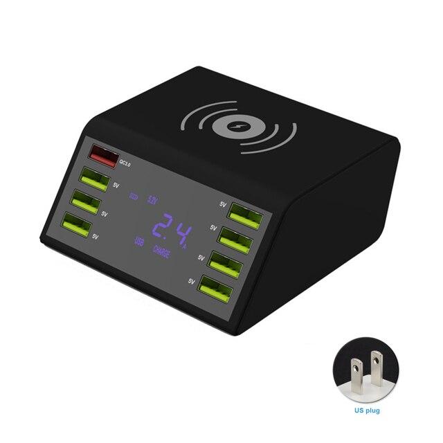 8 portów USB wyświetlacz LCD pulpit ładowarka podróżna szybkie ładowanie wielofunkcyjna przenośna stacja mobilna doki zasilacz