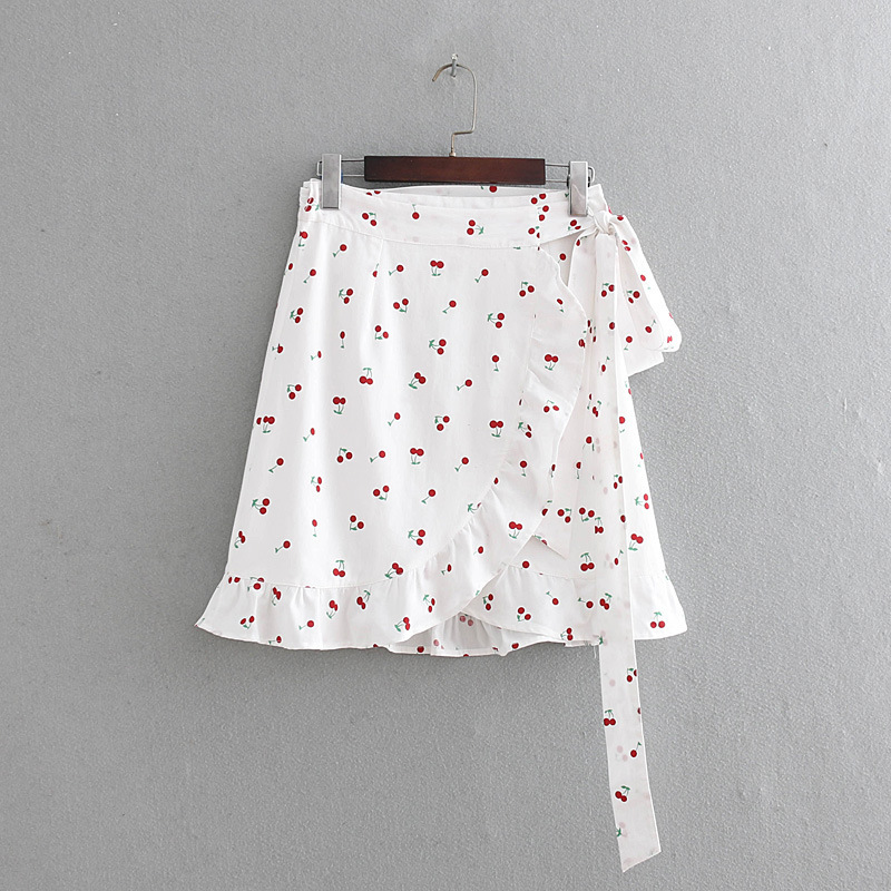 Western Style WOMEN'S Dress 2019 Summer New Style High-waisted Lace-up Cherry Printed Flounced Skirt