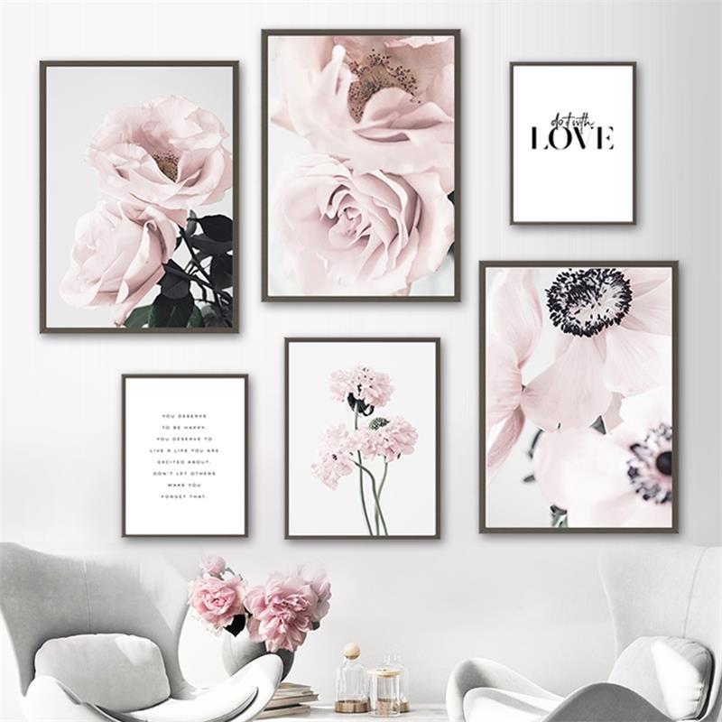 Escandinavo rosa rosa flor citação arte da parede da lona pintura nordic posters e cópias parede fotos para sala de estar decoração casa