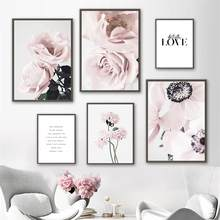 Scandinavian Pink Rose Flower Quote Wall Art Canvas Painting Nordic Posters And Prints Wall Pictures For Living Room Home Decor
