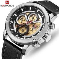 NAVIFORCE Top Brand Luxury Fashion Leather Business Analog Quartz Men Watch Mens Army Military Sports Waterproof Wrist Watches