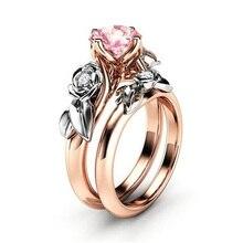 Классическое женское кольцо, модное кольцо из розового золота с цирконием, обручальные аксессуары, ювелирные изделия для подруги, лучший подарок