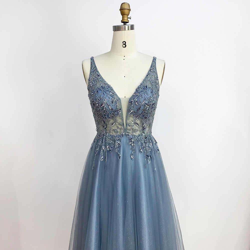 YQLNNE بسيط أزرق مغبر طويل فساتين لحضور الحفلات الموسيقية عميق الخامس الرقبة تول كريستال مطرز فستان رسمي للحفلات بدون ظهر