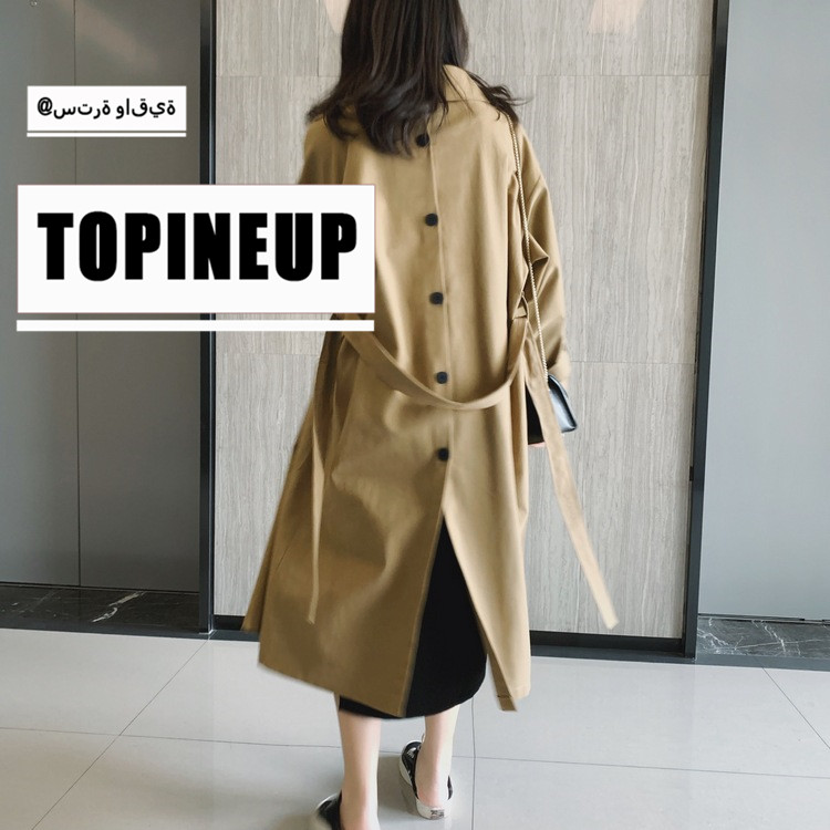 2019 Temperament Back Button Long Coat Solid Color Women Casual Turn-Down Collar Windbreaker Full Sleeve Warm   Trench   Coats