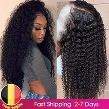 Perruque Lace Frontal Wig naturelle frisée HD 13x6, cheveux humains bouclés, pre-plucked, avec Baby Hair, 13x4x1 T, 180%