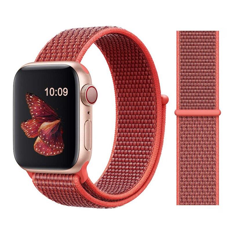 Для наручных часов Apple Watch, версии 3/2/1 38 мм 42 мм нейлон мягкий дышащий нейлон для наручных часов iWatch, сменный ремешок спортивный бесшовный series4/5 40 мм 44 мм - Цвет ремешка: Color26 Nectarine