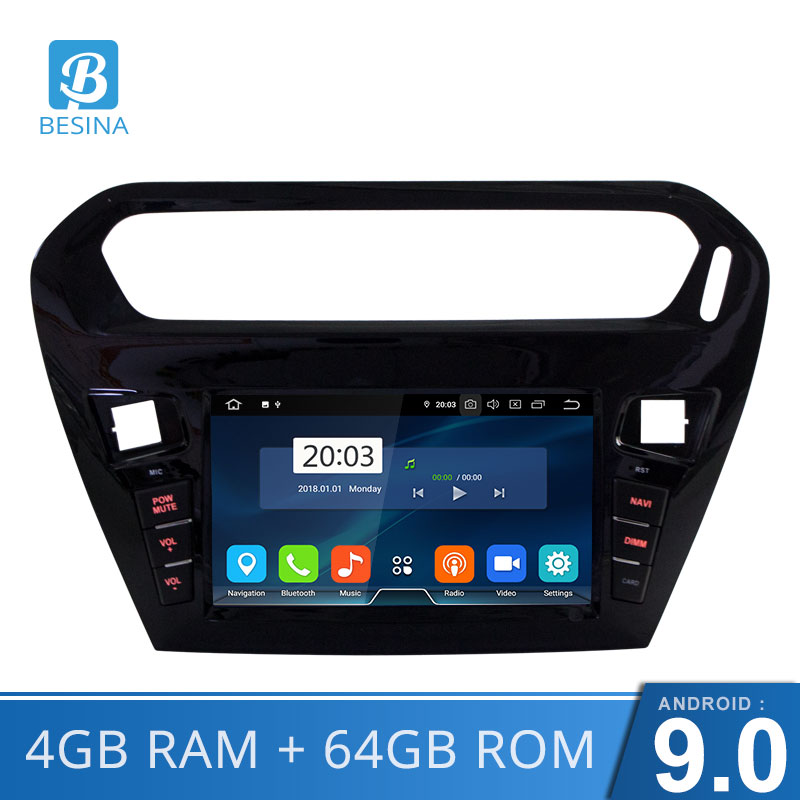 Besina Android 9.0 Car DVD Player For Peugeot 301 Citroen Elysee Radio 2013 2014 2015 2016 Multimedia GPS Navi WIFI Octa C