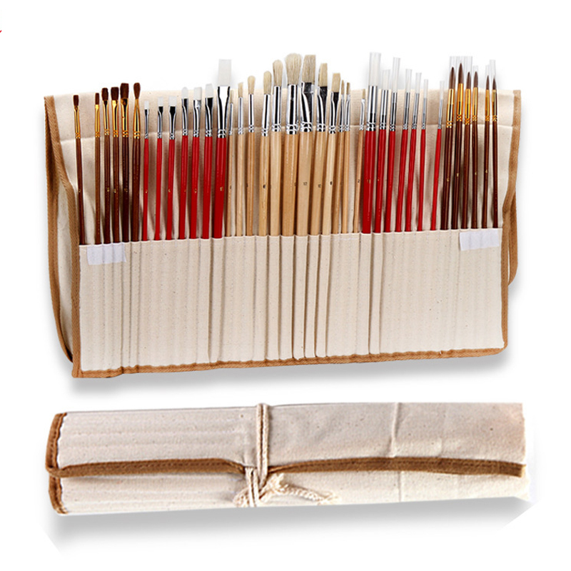 38 Pcs Paint Brushes Set With Canvas Bag Case Long Wooden Handle Synthetic Hair Art Supplies For Oil Acrylic Watercolor Painting