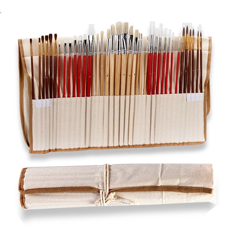 38 stücke Pinsel Set mit Tasche Fall Lange Holzgriff Synthetische Haar Kunst Liefert für Öl Acryl Aquarell malerei