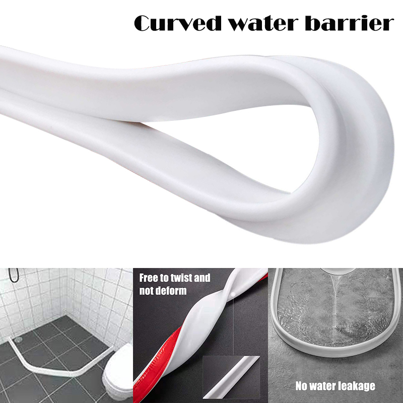 Newly Bathroom Kitchen Water Stopper Dry And Wet Separation Silicone Water Barriers Floor Partition Strips XSD88