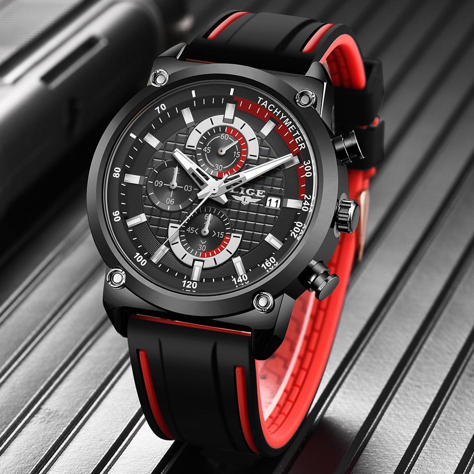 Hc366fd9cde9748b89d747880690ea207h New Top Fashion Chronograph Quartz Men Watches LIGE Silicone Strap Date Wristwatch Clock Male Luminous Watch Relogio Masculino
