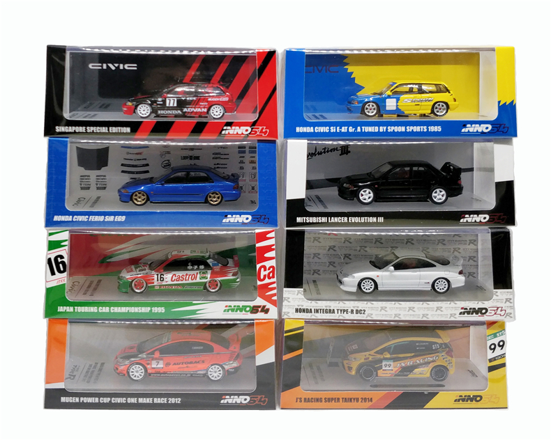1:64 INNO64 Honda Civic Type-R Fit Accord Mitsubishi EVO Toyota Corolla Levin Race Diecast Model Car