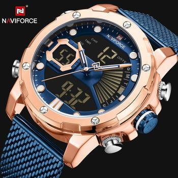 NAVIFORCE 9172 Men Quartz Watches Stainless Steel Strap Dual Time Display LED with box