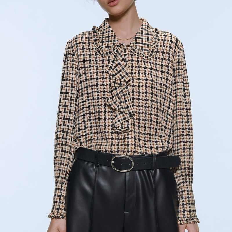 ผู้หญิงลายสก๊อตเสื้อฤดูใบไม้ร่วงใหม่แฟชั่นรูปแบบ Houndstooth เสื้อ Modern Lady แขนยาว Streetwear เสื้อ Ruffles Tops